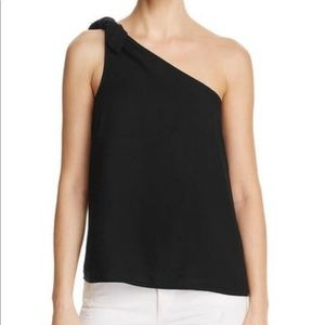Splendid black crosshatch one shoulder tie tank M